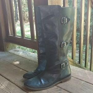 Frye Paige tall buckle motorcycle boots, 10
